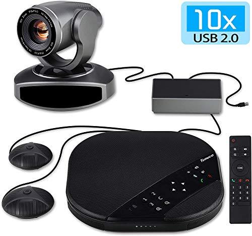 Tenveo Videokonferenzsystem mit Konferenzkamera, Bluetooth Mikrofon und 2 Expansion Mics, 10x Optischer Zoom 1080P Full HD Webcam für Live Streaming und Skype/Zoom Videokonferenzen (TEVO-VA3000E)