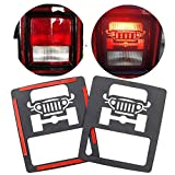 KMFCDAE for Jeep JL Tail Light Covers Car Logo Taillight Cover Trim Rear Lamp Guard Protector for Jeep Wrangler JL & Unlimited Sport (1 Pair)