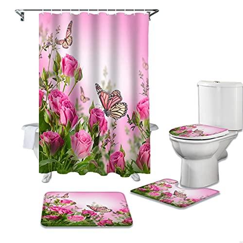 Eighty-Eight - Juego de cortinas de ducha con diseño de mariposas, diseño de mariposas, color rosa