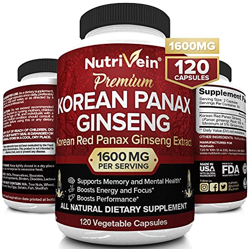 Nutrivein Pure Korean Red Panax Ginseng 1600mg - 120 Vegan Capsules - High Strength 5% Ginsenosides - Ginseng Root Extract Powder for Energy, Potency, Strength, Vigor and Focus for Men and Women