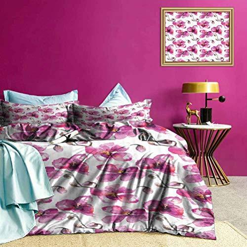 Adorise Colchas Colchas Orquídeas Feng Shui Juegos de Cama de Uso múltiple Que Dan un Sentido Feliz y Acogedor a la habitación - Tamaño Queen