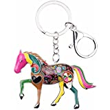 Enamel Metal Horse Key chains For Women Girls Gifts Car Purse Animal Pendant Charms toy (Multicoloured)