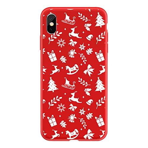 NC para iPhone 13 Pro MAX Funda Navidad Linda Caricatura iPhone 12 Pro MAX Funda roja iPhone 11