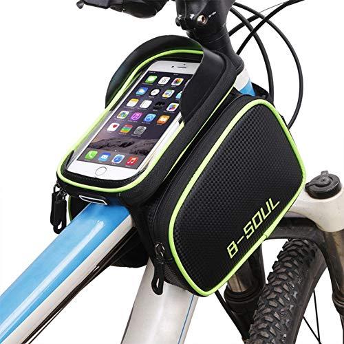 Lesrly-Cycle Bike Top Tube frametas, waterdichte fietstas, mobielhouder met gevoelig touchscreen-venster, voor smartphones onder 6,2 inch