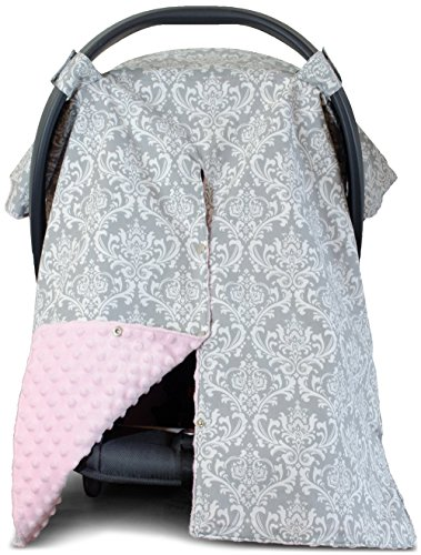Car Seat Canopy and Nursing Cover Up with Peekaboo Opening - Damask Soft Pink