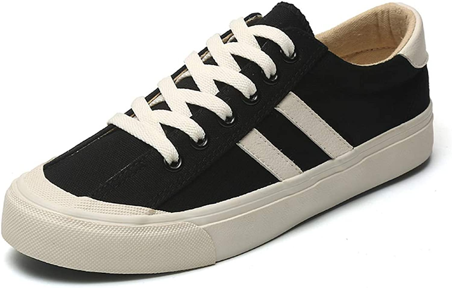 Women's Canvas Low-top Sneaker Casual Lace up Fashion Comfortable for Walking,Black,36
