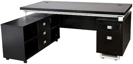 Mahmayi Modern Executive Desk, 180 x 160 x 76.1cm, Black, ME1180