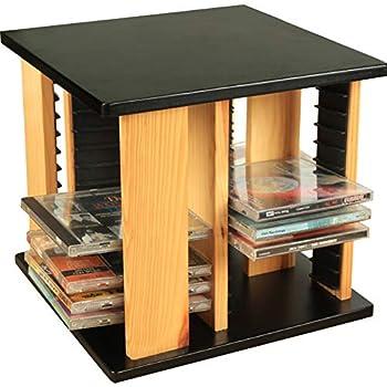 PLAFUETO Wood CD Racks 360° Rotatable Disc Shelf CD Storage Holder Disc Organizer DVD Collection Display Shelf DVD Holder Finishing Rack