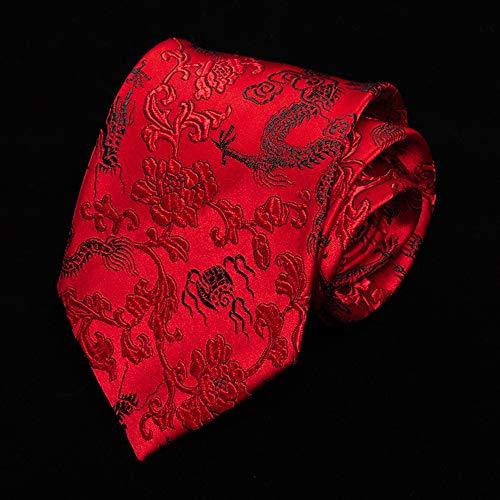 DIAOKUD Cravates Homme,Cravate Vintage 9Cm De Dragon De Calligraphie De Style Chinois Rouge, Memory Shaping Pas Facile À Froisser, pour Fête De Mariage, Rencontre