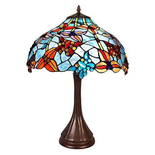 World Art Tafellamp bloemen en vlinders glas in Tiffany-stijl handwerk, E27, Colorful, 42 x 42 x 59 cm