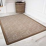 Contemporary Geometric Beige Anti Slip Hardwearing Machine Washable Kitchen Hall Bathroom Runner Mat