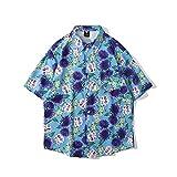 CIDCIJN Camisa Hawaiana para Hombre - Hombres Impreso Hawaiian Beach Camisa Casual Camisa Salvaje Bluuse Hombres Botón Flexible Transpirable Camisa Seca Rápida,Verde,M