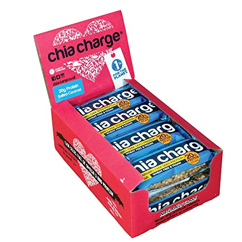 Chia Charge - 20g Protein - Vegan Protein Bar - Peanut Butter - Wheat Free - No Gluten - Dairy Free – High Protein Snacks - 10 x 60g - Salted Caramel…