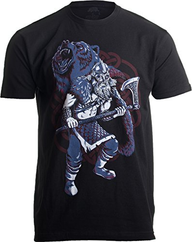 Viking Berserker, Bear Spirit | Valhalla Norse Nordic Mythology Warrior T-Shirt-(Adult,XL) Black