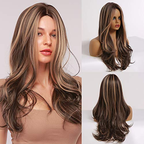 TINY LANA Long Wavy Wigs Middle Part Synthetic Hair Wigs Natural Looking Shoulder Length Wigs for Daily Party Use Wig Included (mix brown)