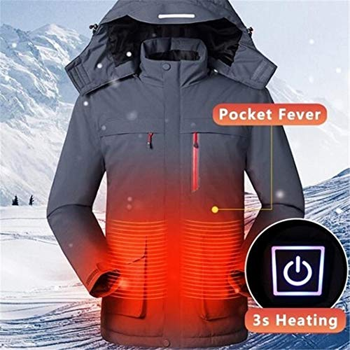 YGCLOTHES mannen warm katoenen jas, verwarming jas, kleding met USB-oplaadkabel 3 snel warmte, waterdichte verwarming capuchon jas instelbare temperatuur Smart voor winter bergbeklimmen