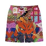 TSHIMEN Pantalones Cortos Hombre New Balance Naruto Pantalones Cortos Playa Verano Anime japonés Respirable Surf Trajes de baño Pantalones Cortos Rosa XXL
