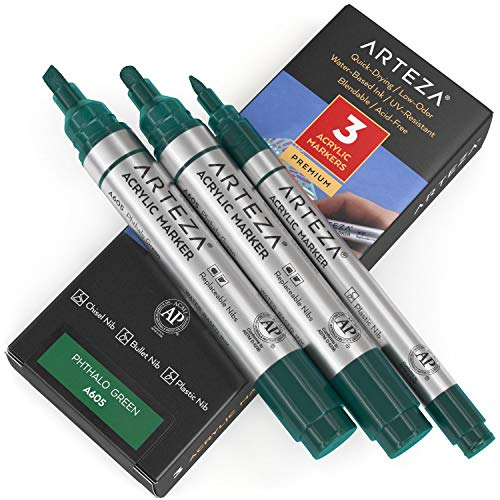 Arteza Rotuladores para pintar, pack de 3, A605 Azul Ftalo, 2 rotuladores punta gruesa (cincel y bala) y de punta 1 fina, acrílico para metal, lienzo, piedra, cerámica, vidrio, madera y tela