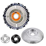 CZS Wood Carving Disc Grinder Shaping Disc Wood Grinding Wheel Woodworking Angle Grinder Attachment,Chain Disc & Coarse Disc,5/8' Arbor (1+1 Pack)