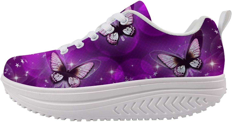 Owaheson Swing Platform Toning Fitness Casual Walking shoes Wedge Sneaker Women Purple Psychedelic Stars World Magic Dance Butterfly