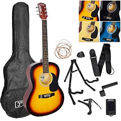 3rd Avenue Pack de guitarra acústica de tamaño estándar 4/4 para principiantes con funda de transporte con púas, cuerdas de repuesto, soporte, correa, afinador, cejilla y manivela, Sunburst