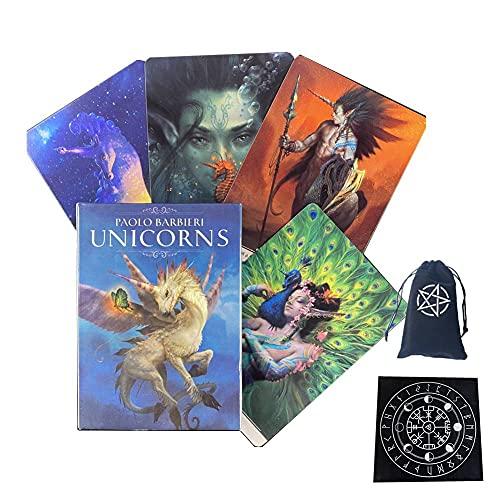 Taritas de Tarot de Paolo Barbieri Unicorns,Paolo Barbieri Unicorns Tarot Cards,with Tablecloth + Bag,Standard