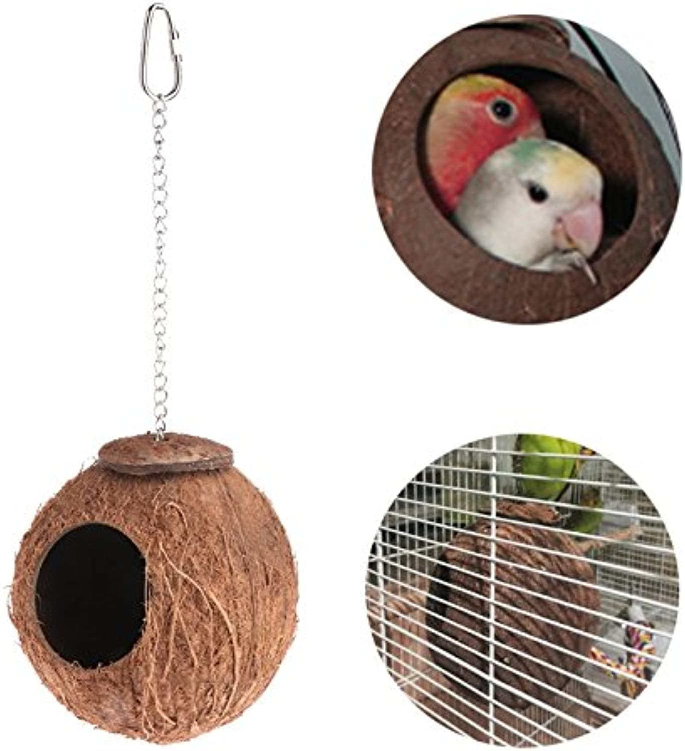 1Pc Bird Parred Nest Natural Coconut Shell Hanging Chain Cage Toys Swing House Finch