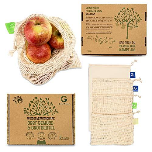 Green Thumbs Wiederverwendbare Obst- und Gemüsebeutel aus 100 {18f9bd81676c8cdbe7e118b1526e8a36ec05535acc583f9455a3ad141f2c9c7f} Baumwolle – inklusive Brotbeutel - 5er Set - hochwertige Netzbeutel mit Gewichtsangaben
