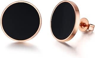 PJ Stainless Steel Two-tone Black Rose Gold Asymmetrical Circle Disc Stud Earrings for Women Girls
