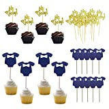 Jxuzh 34 piezas Oh Baby Cupcake Toppers Baby Shower Cake Decoracione Boy OH Baby Cake Decoración Bautizo Niño Cupcake Toppers Baby Shower Decoración para cumpleaño Baby Shower Decoraciones para fiesta