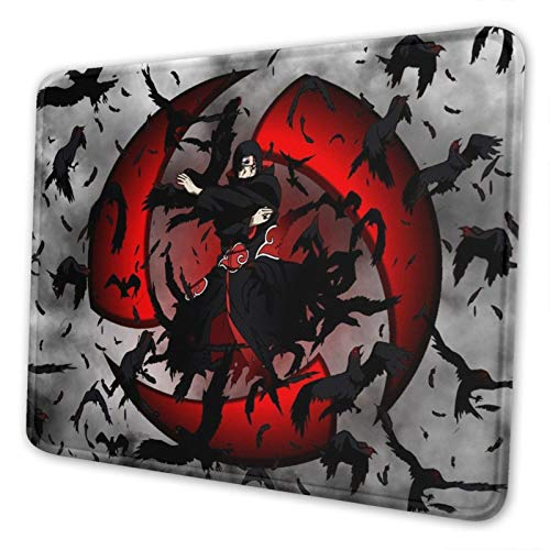 Anime Naruto Akatsuki Uchiha Itachi Gaming Mouse Pad with Stitched Edge Gamer Mouse Mat Non-Slip Rubber Mousepad for Computer Laptop Office Desk 10 x 12 Inch