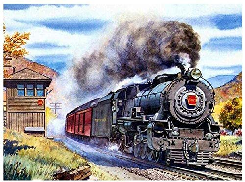 Wooden Puzzle 500 Pieces for Teenagers and Adults Steam Train Pattern Intellectual Hands On Game Leisure Time Decoration Gift ChallengeFinished size:52cm*38cm