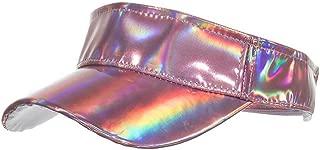 Shiny Holographic Plain Sport Sun Visor Laser Leather Adjustable Summer Cap