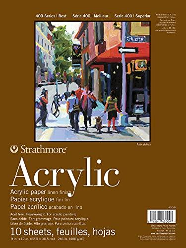 Strathmore Serie 400 - Bloc de Papel acrílico, Acabado de Lino, Pegamento, 10 Hojas, Hojas Sueltas, Blanco, 9 by 12'