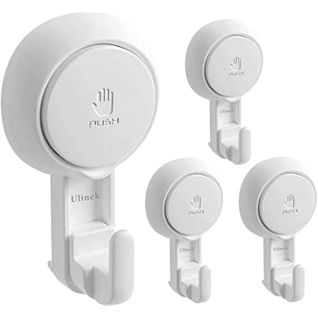 Ulinek Suction Cup Hooks Wall Suckers 4 Pack Hooks Removable No Drilling for Coat Towel Key Hat Cloth Tool Vacuum Suction Hanging Holder Hanger for Bathroom Kitchen Door Window Mirror Glass