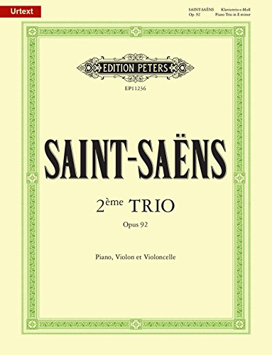 EDITION PETERS SAINT-SAENS C. - PIANO TRIO N°2 IN E OP. 92 Klassische Noten Kammermusik
