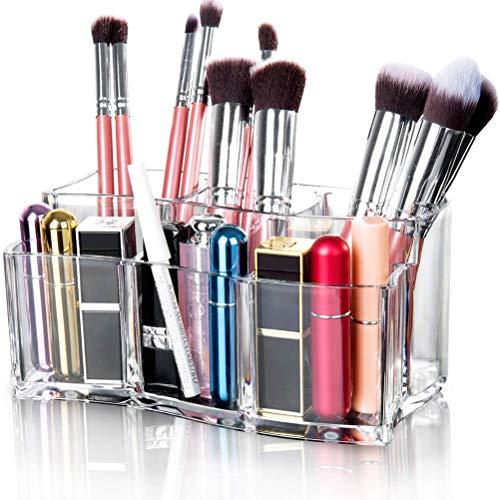 Leikance Organiseur de pinceaux de maquillage en acrylique transparent
