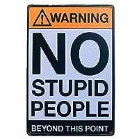 ヴィンテージブリキの看板警告愚かな人々はありませんヴィンテージ看板鉄のポスターアート壁の装飾の絵画-20x30cm