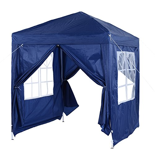 Outsunny 2m x 2m Garden Heavy Duty Pop Up Gazebo Marquee Party Tent Wedding Awning Canopy New With free Carrying Case Blue + Removable 2 Walls 2 Windows