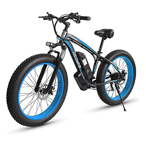 Bicicleta eléctrica adulta, 4,0 bicicleta fetal fetal / 1000W 48V Bicicleta eléctrica de alta potencia de alta potencia, batería de litio desmontable y cargador de batería, tres modos de trabajo,Azul