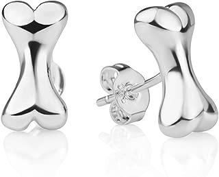 925 Sterling Silver Little Bone High Polished Dog Lovers Post Stud Earrings 12 mm