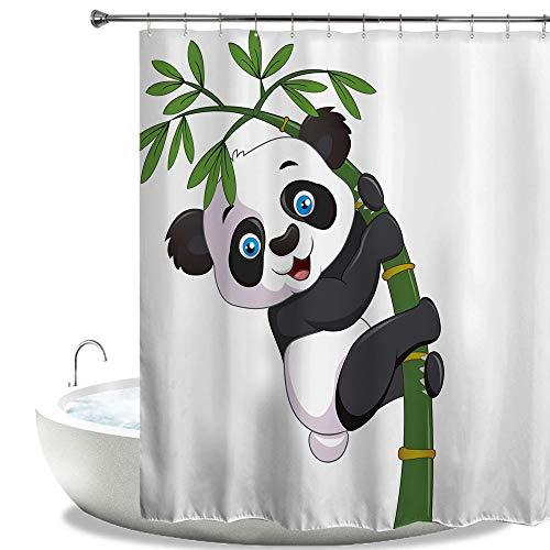 HIYOO Duschvorhang aus Polyester, wasserdicht, Panda-Design, High-Definition-Druck, inkl. Haken 72