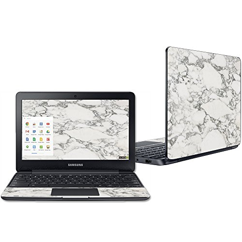 Mightyskins Skin Compatible with Samsung Chromebook 3 11.6 - White Marble   Protective, Durable, and Unique Vinyl Decal Wrap Cover   Easy to Apply, Remove, and Change Styles   Made in The USA