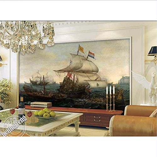 3D Tapeten High-End-Custom Wandbilder Vlies Wandaufkleber Spanische Kriegsschiff Schlug Holländische Schiff Malerei 3D Wand Wandbild Wandpapier