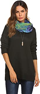 Qearal Womens Oversized Long Sleeve Loose Pullover Sweater V Neck Side Slit Knit Jumper Tops