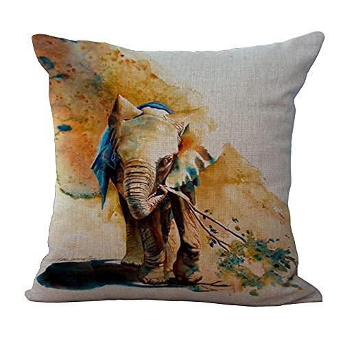 MissW Funda De Almohada Decorativa De La Serie Elefante De Pintura En Tinta Engrosada Sin Núcleo De Almohada Funda De Cojín Lavable Adecuada para Dormitorio Sofá Oficina