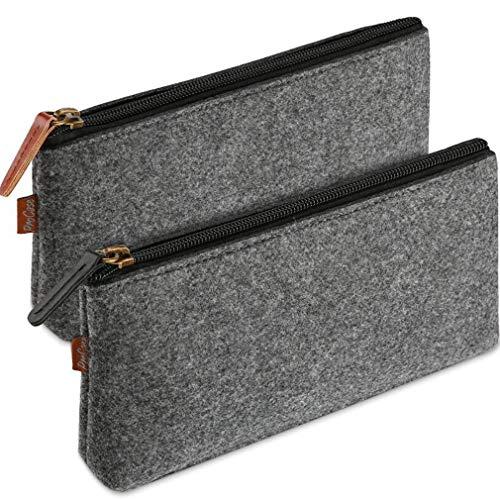 #N/A Sawyerda - 2 bolsas de lápices para estudiantes, color gris oscuro