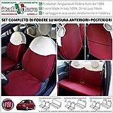 FODERE FODERINE Su Misura Compatibili con Fiat 500 (dal 2007 in Poi) Coprisedili Tappezzeria ROSSO/BIANCO con Ricami Anteriori