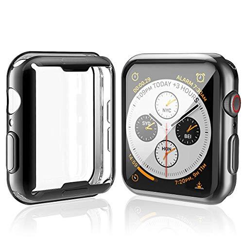 Misxi 【2枚セット】 Apple Watch Series 5 / Series 4 44mm ケース, 全面保護 耐衝撃 メッキ 柔らかい TPU ウオッチ保護ケース超薄型カバー 2019 新しい アップルウォッチシリーズ 5/4 44mm ケース (1 ブラック + 1 クリア)