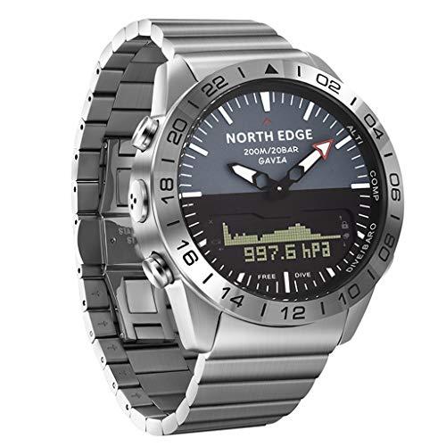 North-Edge Herrenuhr Tauchsport Digitaluhr Vollstahl Unternehmen Smart Watch für Männer Wasserdicht 100m elektronisch Quarz Analoge Uhren mit Höhenmesser, Kompass, Barometer, Thermometer